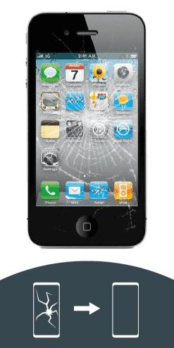 Zersplittertes Display eines iPhone 4 zur Reparatur