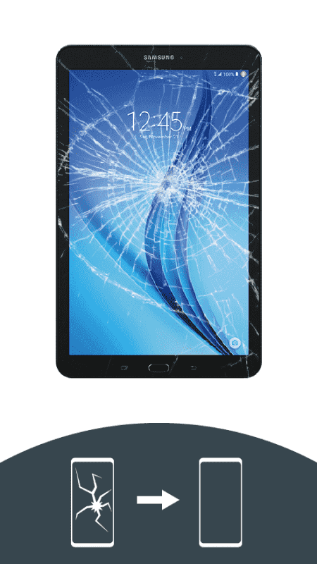 Tablet mit zerbrochenem Display bei der Display-Reparatur