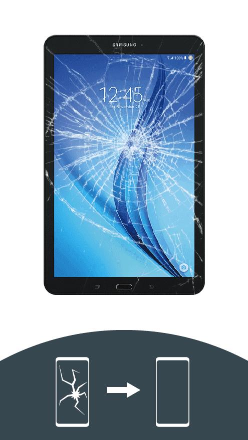 Tablet mit zerbrochenem Display bei der Display-Reparatur